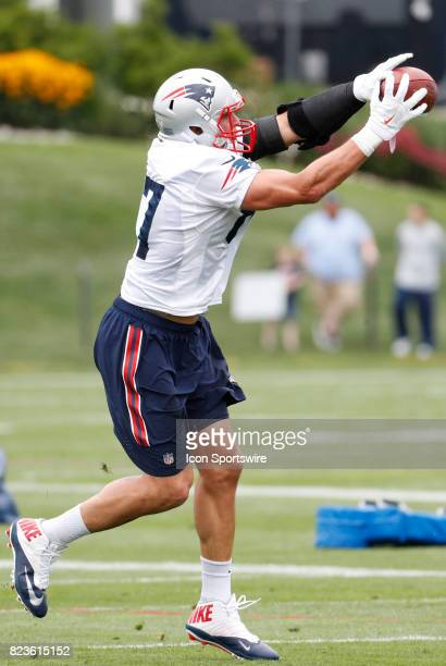 New England Patriots tight end Rob Gronkowski hauls in a pass during New England Patriots training camp on July 27 at the Patriots Practice Facility...