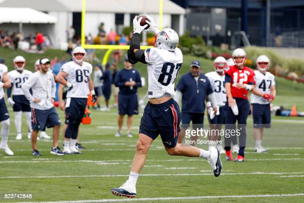 New England Patriots tight end Rob Gronkowski makes a catch during New England Patriots training camp on July 27 at the Patriots Practice Facility in...