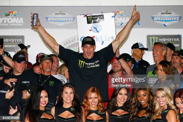 New England Patriots tight end Rob Gronkowski reacts in Victory Lane after Kurt Busch driver of the Haas Automation/Monster Energy Ford won the 59th...