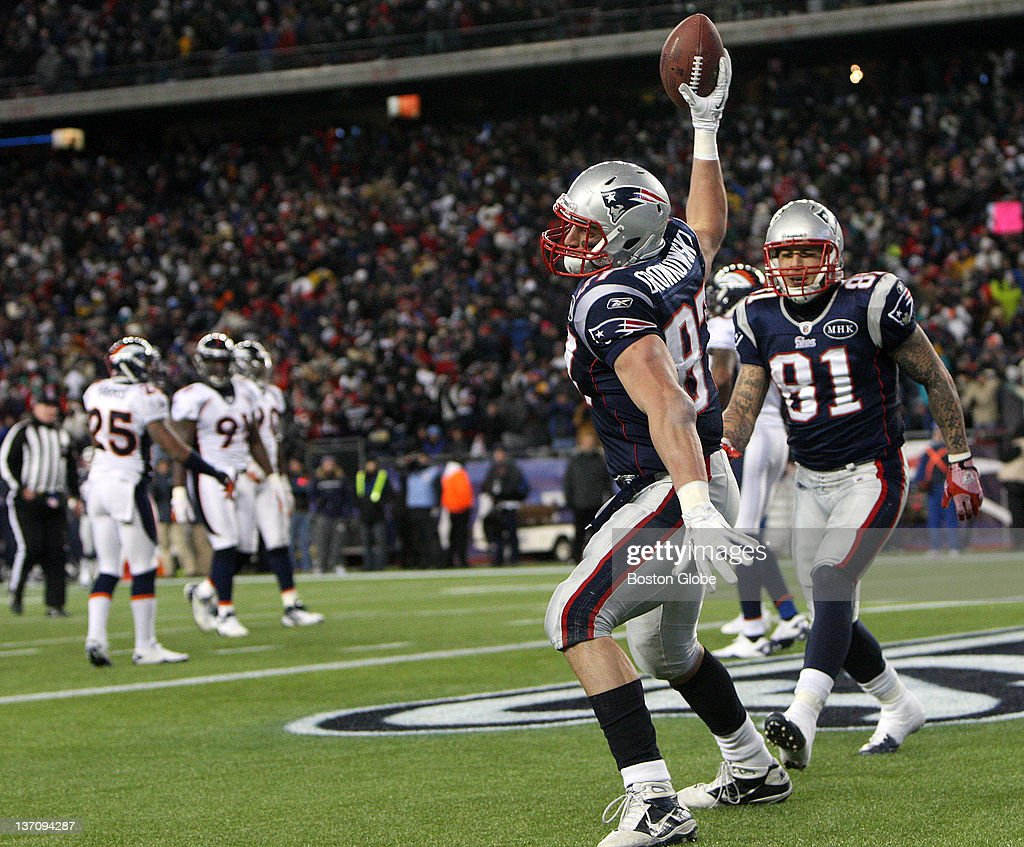 New England Patriots tight end Rob Gronkowski spikes the ball after scoring a touchdown during the second half The New England Patriots took on the...
