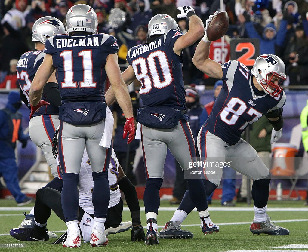 New England Patriots tight end Rob Gronkowski spikes the ball after his third quarter touchdown The New England Patriots hosted the Baltimore Ravens...
