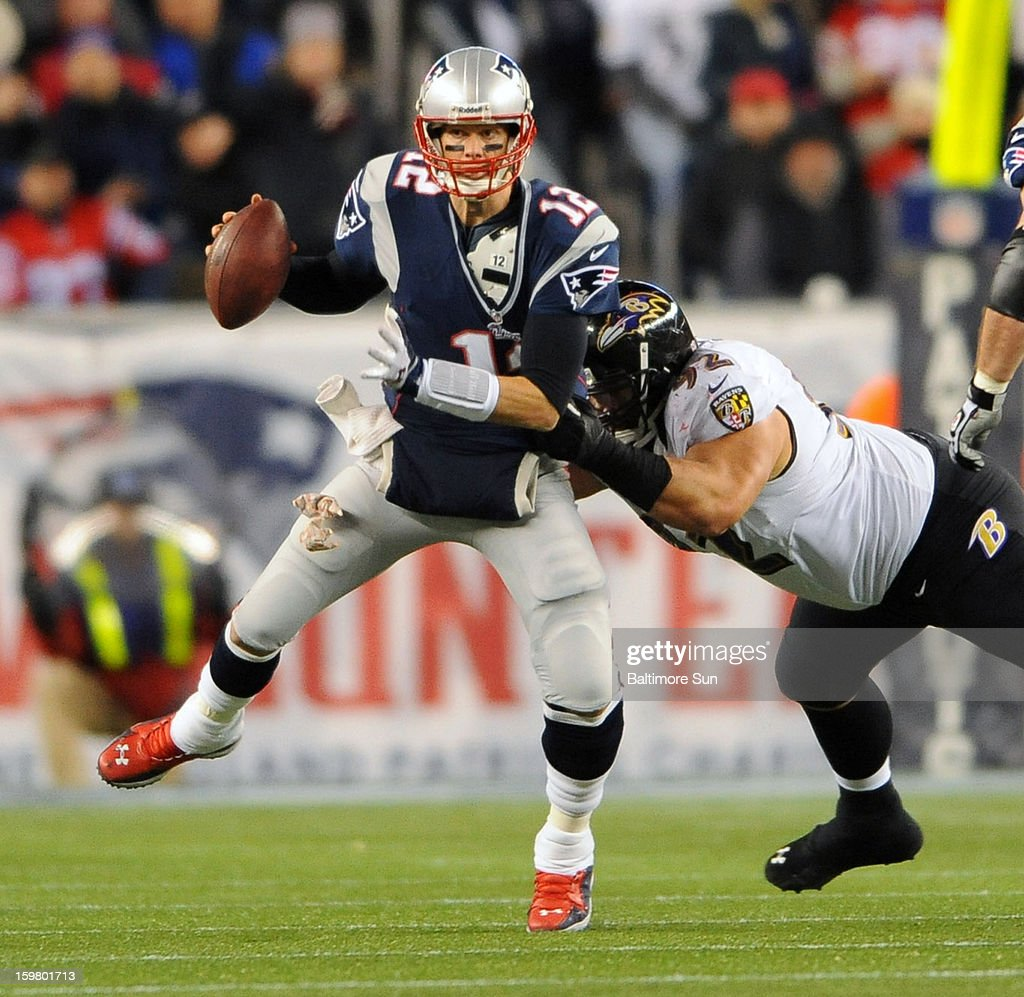 New England Patriots' Tom Brady is pressured by Baltimore Ravens' Haloti Ngata during the AFC Championship game at Gillette Stadium on Sunday, January 20, 2013, in Foxboro, Massachusetts.