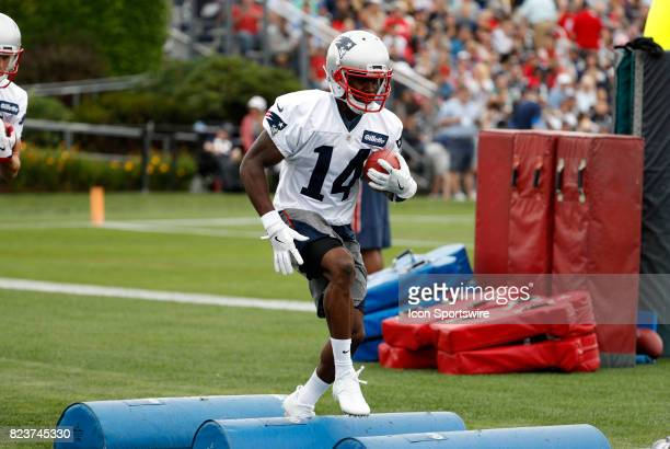 New England Patriots wide receiver Brandin Cooks runs the agility drill during New England Patriots training camp on July 27 at the Patriots Practice...