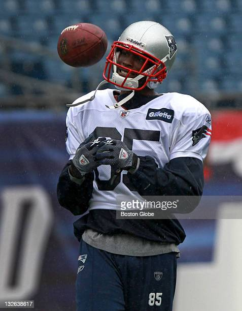 New England Patriots wide receiver Chad Ochocinco at practice inside Gillette stadium during a steady rainfall