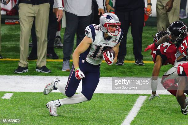 New England Patriots wide receiver Chris Hogan runs after the catch during Super Bowl LI on February 5 at NRG Stadium in Houston TX