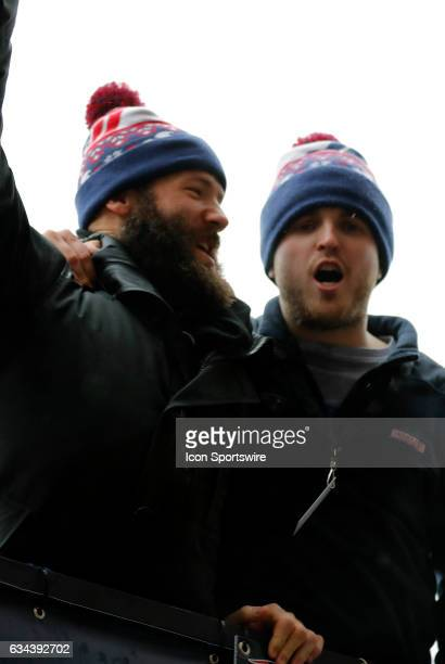 New England Patriots wide receiver Julian Edelman and New England Patriots punter Ryan Allen during the Patriots Victory Parade through the streets...