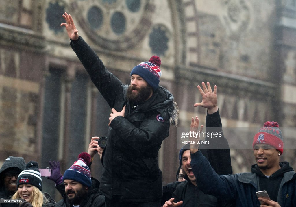 New England Patriots wide receiver Julian Edelman gestures towards the crowd during the Patriots victory parade on February 7, 2017 in Boston, Massachusetts. The Patriots defeated the Atlanta Falcons 34-28 in overtime in Super Bowl 51.