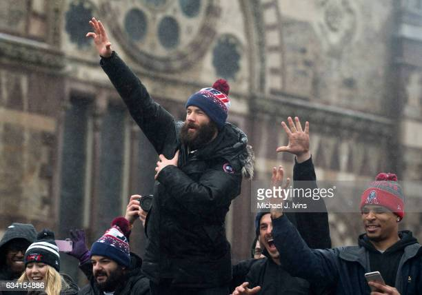 New England Patriots wide receiver Julian Edelman gestures towards the crowd during the Patriots victory parade on February 7 2017 in Boston...