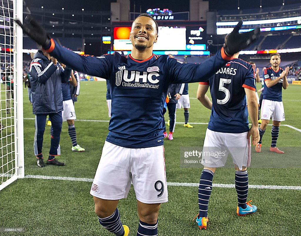 New England Revolution Charlie Davies thanking the fans after they defeated the Columbus Crew 31 during the MLS Playoff game at Gillette Stadium on...