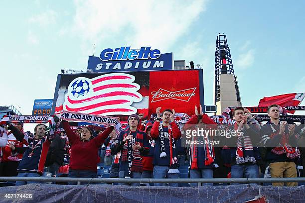 New England Revolution fans cheer for their team following the game against the Montreal Impact during the second half at Gillette Stadium on March...
