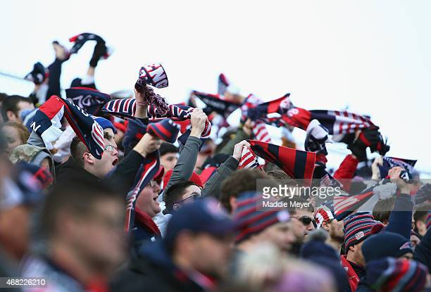 New England Revolution fans cheer their team during the second half at Gillette Stadium on March 21 2015 in Foxboro MassachusettsThe Revolution and...