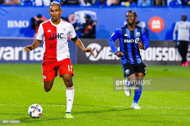 New England Revolution forward Juan agudelo looks unsure about his options with the ball during the New England Revolution versus the Montreal Impact...