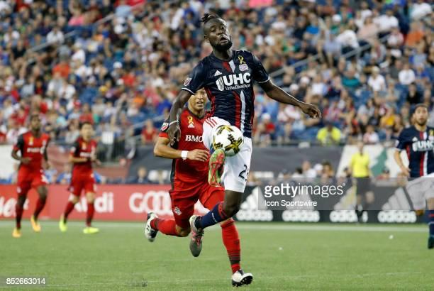 New England Revolution forward Kei Kamara brings the ball down during a match between the New England Revolution and Toronto FC on September 23 2017...