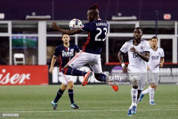 New England Revolution forward Kei Kamara controls the ball in the air during an MLS match between the New England Revolution and Vancouver Whitecaps...