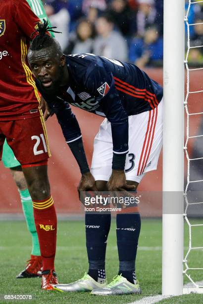 New England Revolution forward Kei Kamara gets set at the near post for a corner kick during a regular season MLS match between the New England...