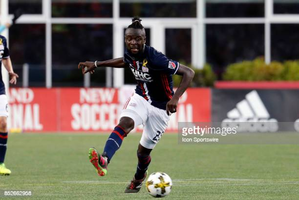 New England Revolution forward Kei Kamara passes the ball during a match between the New England Revolution and Toronto FC on September 23 2017 at...
