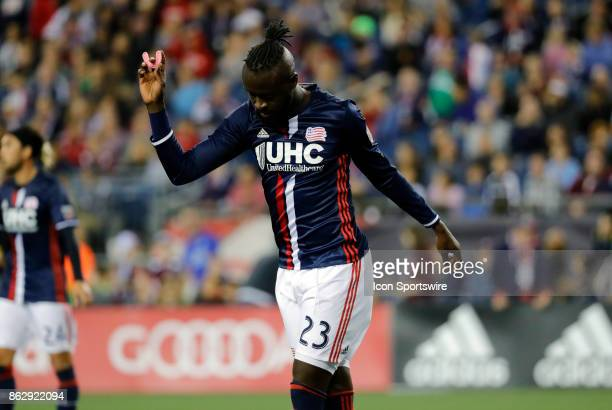 New England Revolution forward Kei Kamara reacts to missing a break away opportunity during a match between the New England Revolution and New York...