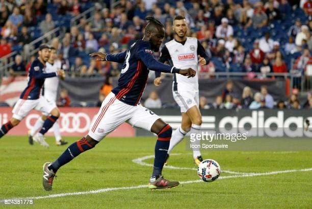 New England Revolution forward Kei Kamara sets up a shot during an MLS match between the New England Revolution and the Philadelphia Union on July 29...