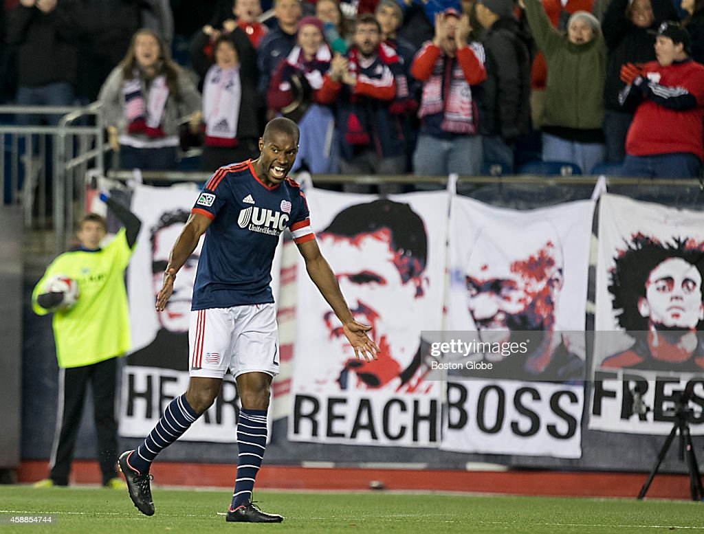 New England Revolution Jose Goncalves celebrates his goal against the Columbus Crew during second half action of the MLS Playoff game at Gillette...