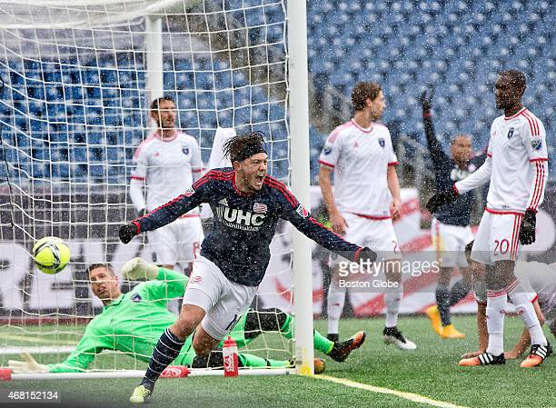 New England Revolution Kelyn Rowe reacting after scoring his second goal of the game beating the San Jose Earthquakes goalie David Bingham during...