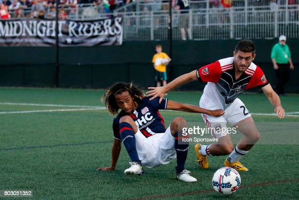 New England Revolution midfielder Zachary Herivaux tries to slow down DC United defender Chris Korb during a Round of 16 match for the 2017 Lamar...