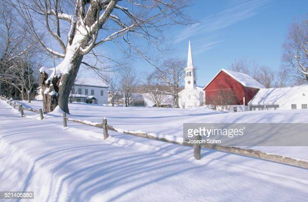 New England Settlement with Winter Snow
