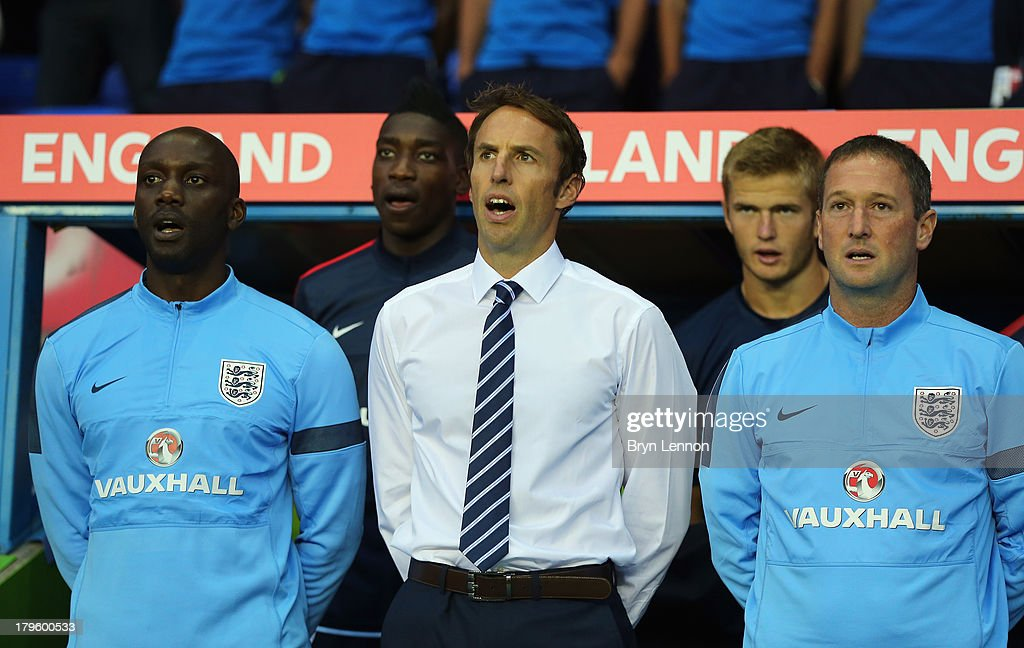 New England U21 Manager Gareth Southgate stands for the National Anthems prior to the 2015 UEFA European U21 Championships Qualifier between England U21 and Moldova U21 at the Madejski Stadium on September 5, 2013 in Reading, England.