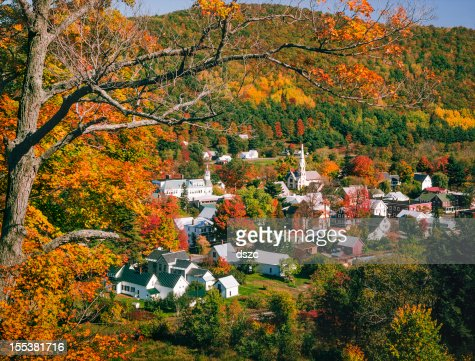 New England Vermont village in autumn foliage color