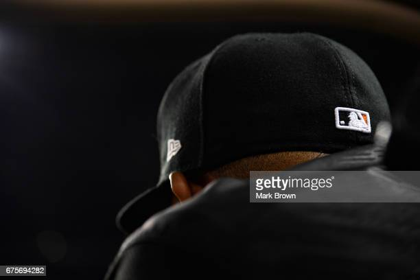 New Era hat and Major League Baseball logo of Edinson Volquez of the Miami Marlins during the game between the Miami Marlins and the Pittsburgh...