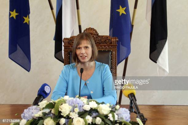 New Estonian President Kersti Kaljulaid gives a press conference at Riigikogu the Estonian parliament on October 3 2016 in Tallinn Estonia's...