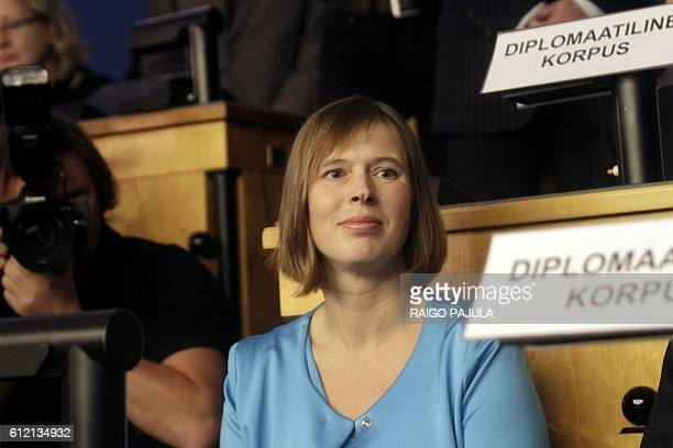 New Estonian President Kersti Kaljulaid is pictured at Riigikogu the Estonian parliament on October 3 2016 in Tallinn Estonia's parliament elected EU...