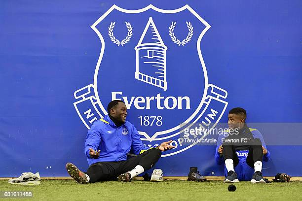 New Everton signing Ademola Lookman chats to team mate Romelu Lukaku during the Everton FC training session at Finch Farm on January 13 2017 in...