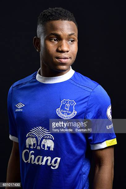 New Everton signing Ademola Lookman poses for a photo at Finch Farm on January 5 2017 in Halewood England