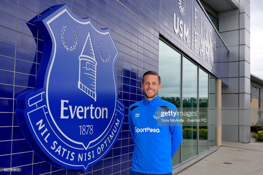 New Everton signing Gylfi Sigurdsson poses for a photo at USM Finch Farm on August 16, 2017 in Halewood, England.