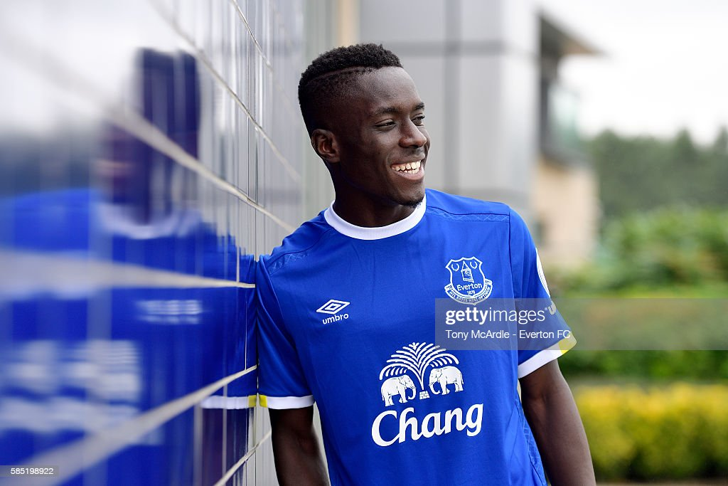 New Everton signing Idrissa Gueye poses for a photo at Finch Farm on August 2, 2016 in Halewood, England.