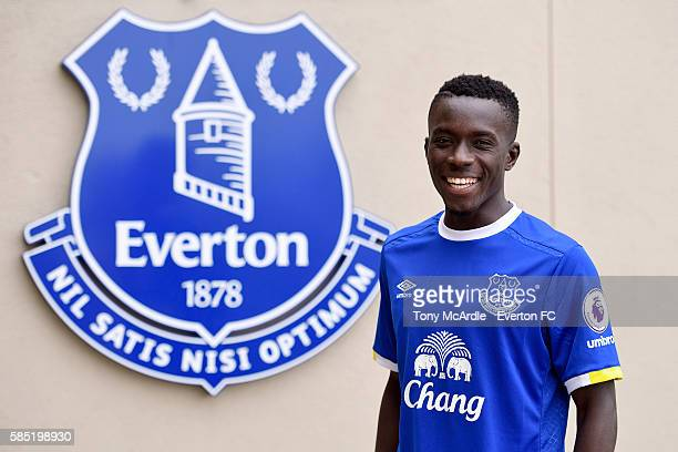 New Everton signing Idrissa Gueye poses for a photo at Finch Farm on August 2 2016 in Halewood England