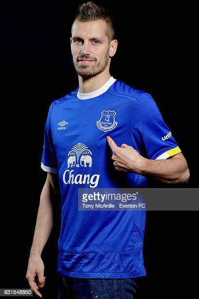 New Everton signing Morgan Schneiderlin poses for a photo at USM Finch Farm on January 11 2017 in Halewood England