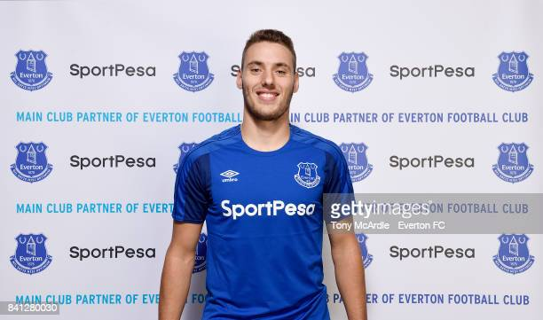 New Everton signing Nikola Vlasic poses for a photo at USM Finch Farm on August 31 2017 in Halewood England