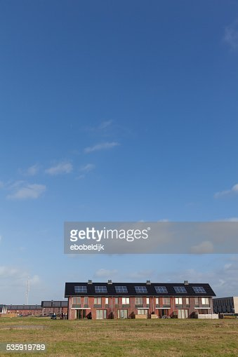 New family homes with solar panels on the roof : Stock Photo