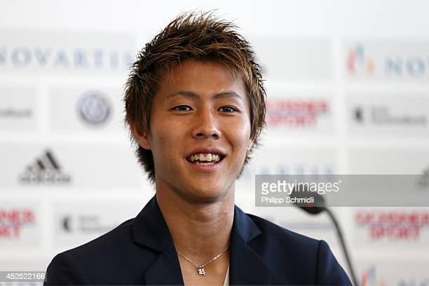 New FC Basel Player Yoichiro Kakitani looks on during his presentation in the St Jakob Park on July 22 2014 in Basel Switzerland