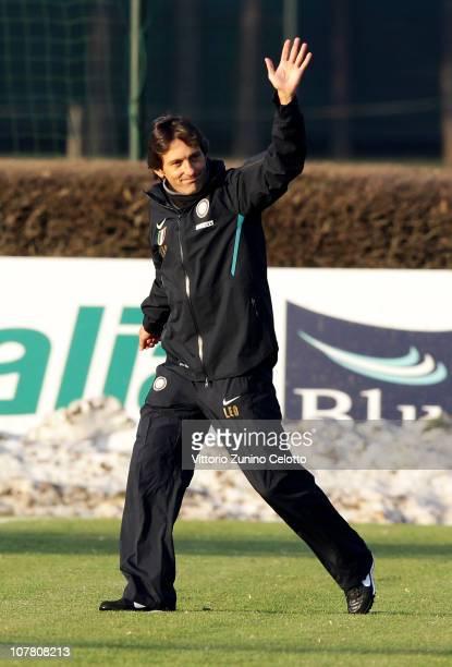 New FC Internazionale Coach Leonardo attends a training session at Centro Sportivo Angelo Moratti on December 29 2010 in Appiano Gentile near Como...