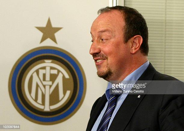 New FC Internazionale Coach Rafael Benitez attends a press conference held at La Pinetina on June 15 2010 in Milan Italy