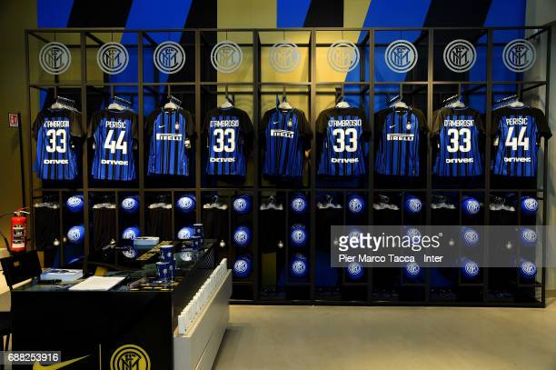New FC Internazionale jerseys are seen in store as the FC Internazionale new 2017/18 kit is unveiled at Club Store on May 25 2017 in Milan Italy