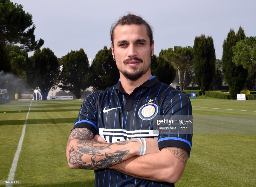 New FC Internazionale signing <a gi-track='captionPersonalityLinkClicked' href=/galleries/search?phrase=Pablo+Daniel+Osvaldo&family=editorial&specificpeople=4607628 ng-click='$event.stopPropagation()'>Pablo Daniel Osvaldo</a> poses for a photo at Appiano Gentile on August 6, 2014 in Como, Italy.