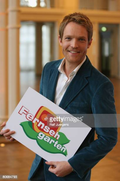 New 'Fernsehgarten' TV Presenter ErnstMarcus Thomas poses during a photo call on April 15 2008 at the Flora in Cologne Germany