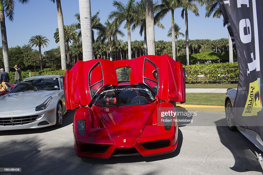 A new Ferrari Enzo automobile is on display and for sale at the annual Cavallino Auto Competition, January 26, 2013 held at The Breakers Hotel in Palm Beach, Florida.