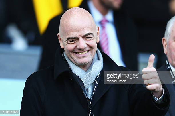 New FIFA President Gianni Infantino thumbs up prior to the Barclays Premier League match between Swansea City and Norwich City at Liberty Stadium on...