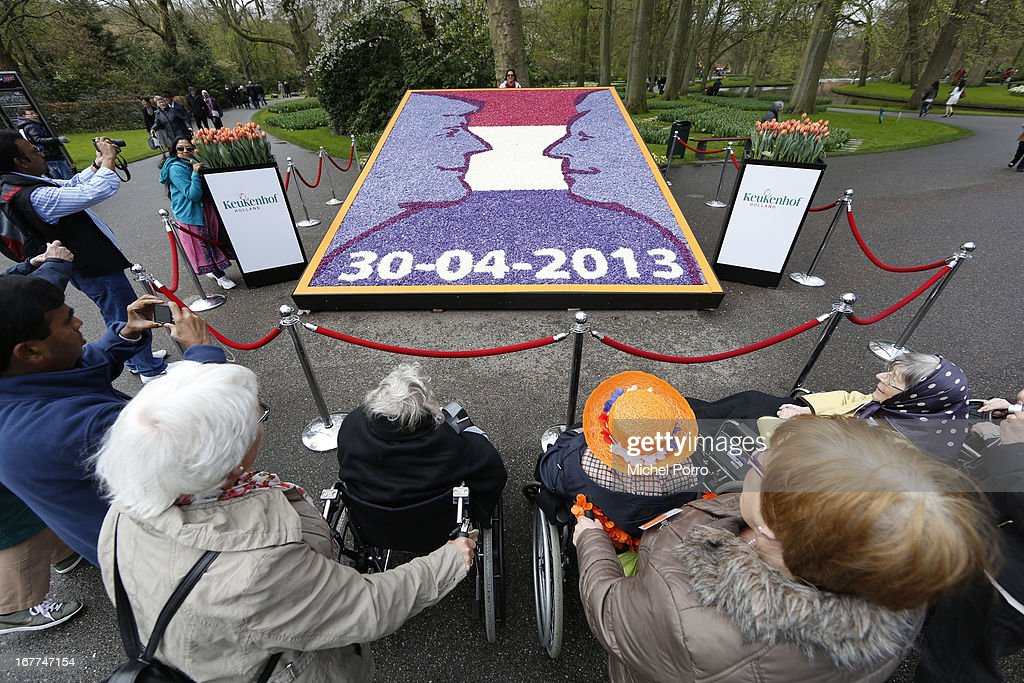 A new flower decoration illustrating Queen Beatrix and Prince Willem Alexander is shown to the public at Keukenhof flower show on April 29, 2013 in Lisse, Netherlands.