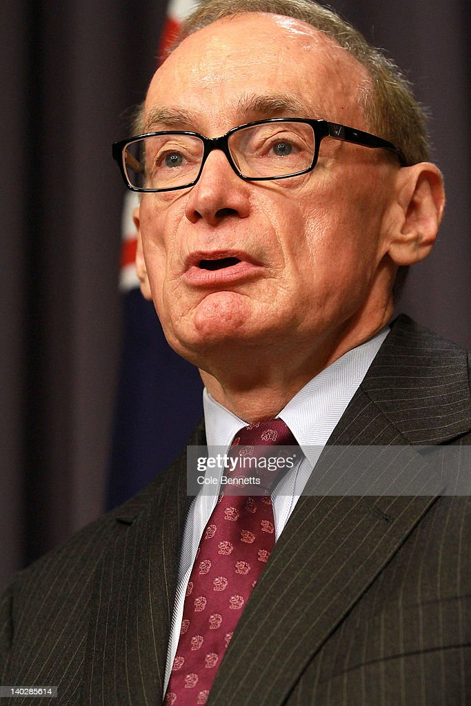 New Foreign Affairs Minister <a gi-track='captionPersonalityLinkClicked' href=/galleries/search?phrase=Bob+Carr&family=editorial&specificpeople=209391 ng-click='$event.stopPropagation()'>Bob Carr</a> speaks at a press conference as Australian Prime Minister Julia Gillard announces the make up of her reshufffled cabinet during a press conference at Parliament House on March 2, 2012 in Canberra, Australia. In her third ministerial reshuffle in 18 months, <a gi-track='captionPersonalityLinkClicked' href=/galleries/search?phrase=Bob+Carr&family=editorial&specificpeople=209391 ng-click='$event.stopPropagation()'>Bob Carr</a> replaces Kevin Rudd as Minister for Foreign Affairs after his recent failed leadership bid, which led to minister resignations and the need for the reshuffle.