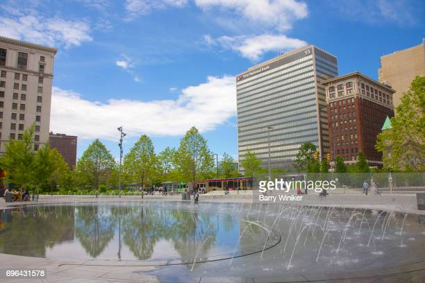 New fountains in Public Square, Cleveland